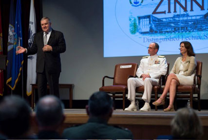 Retired Marine General Anthony Zinni addresses audience during JFSC 70th Anniversary