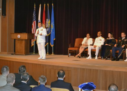 U.S. Navy Admiral Bill Gortney, Commander, U.S. Fleet Forces Command, delivers commencement remarks.  (Photo by David McManaway)